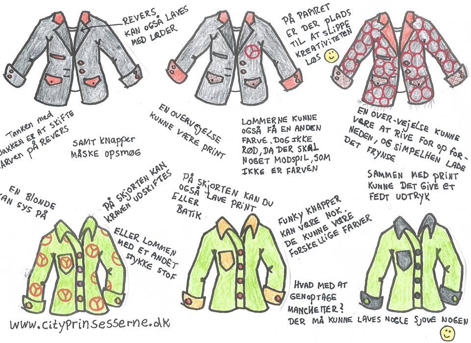 Maybritt's skitser til customizing af skjorter og jakke.