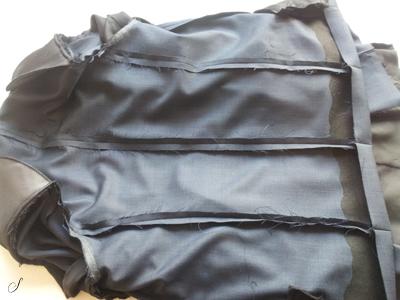 Indersiden af en industri syet jakke.